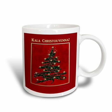 3drose kala christouyenna merry christmas in greek christmas tree on red ceramic mug - Greek Christmas