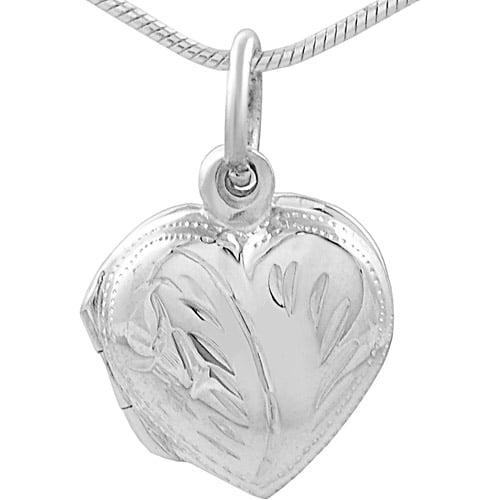 "Brinley Co. Sterling Silver Heart Locket Pendant, 18"""
