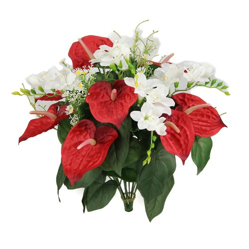 Admired by Nature Artificial Anthurium and Freesia Mixed Flowers Bush
