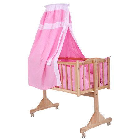 Jaxpety Baby Crib Bed Infant Toddler Lockable Cradle Rocking Baby Child Nursery Furniture Pink