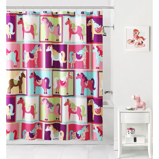 Mainstays™ Kids Pony Pink/Blue Fabric Shower Curtain - Walmart.com