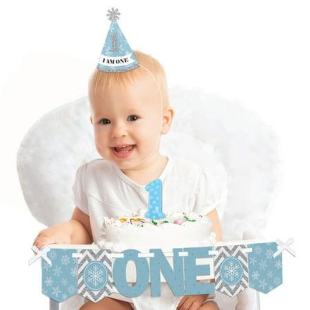 ONEderland 1st Birthday - First Birthday Girl Smash Cake Decorating Kit - Winter Wonderland High Chair Decorations