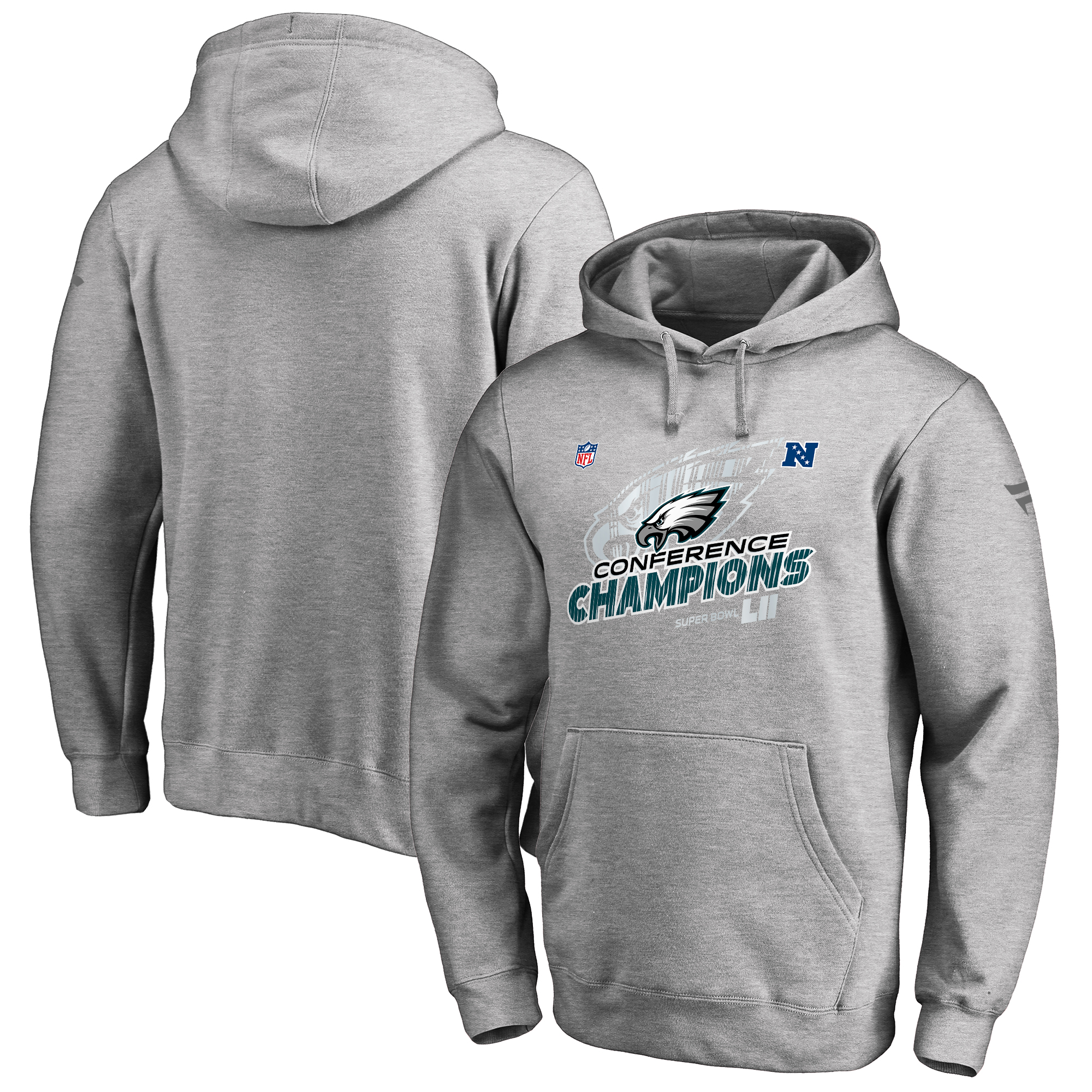 Philadelphia Eagles NFL Pro Line by Fanatics Branded 2017 NFC Champions Trophy Collection Locker Room Pullover Hoodie - Heather Gray