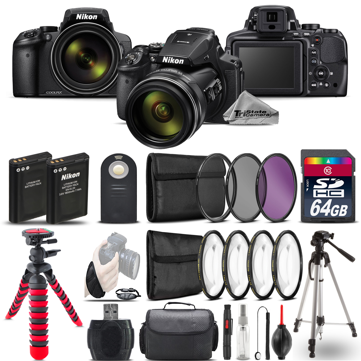 Nikon COOLPIX P900 Digital Camera + DSLR & Spider Tripod  + EXT BAT - 64GB Kit