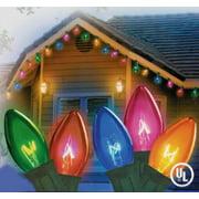 set of 25 transparent multi color c9 twinkle christmas lights green wire - Random Twinkle Christmas Lights