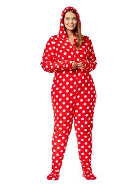 5bc1512ed Product Image Jenni by Jennifer Moore Womens Plus Size Hooded Pajama  Jumpsuit 2X Big Dots