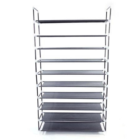 Zimtown 50 Pairs Shoe Rack Shelf Holder Unit Stand Organizer Portable 10 Tier Gray 10 Space Combo Rack Case