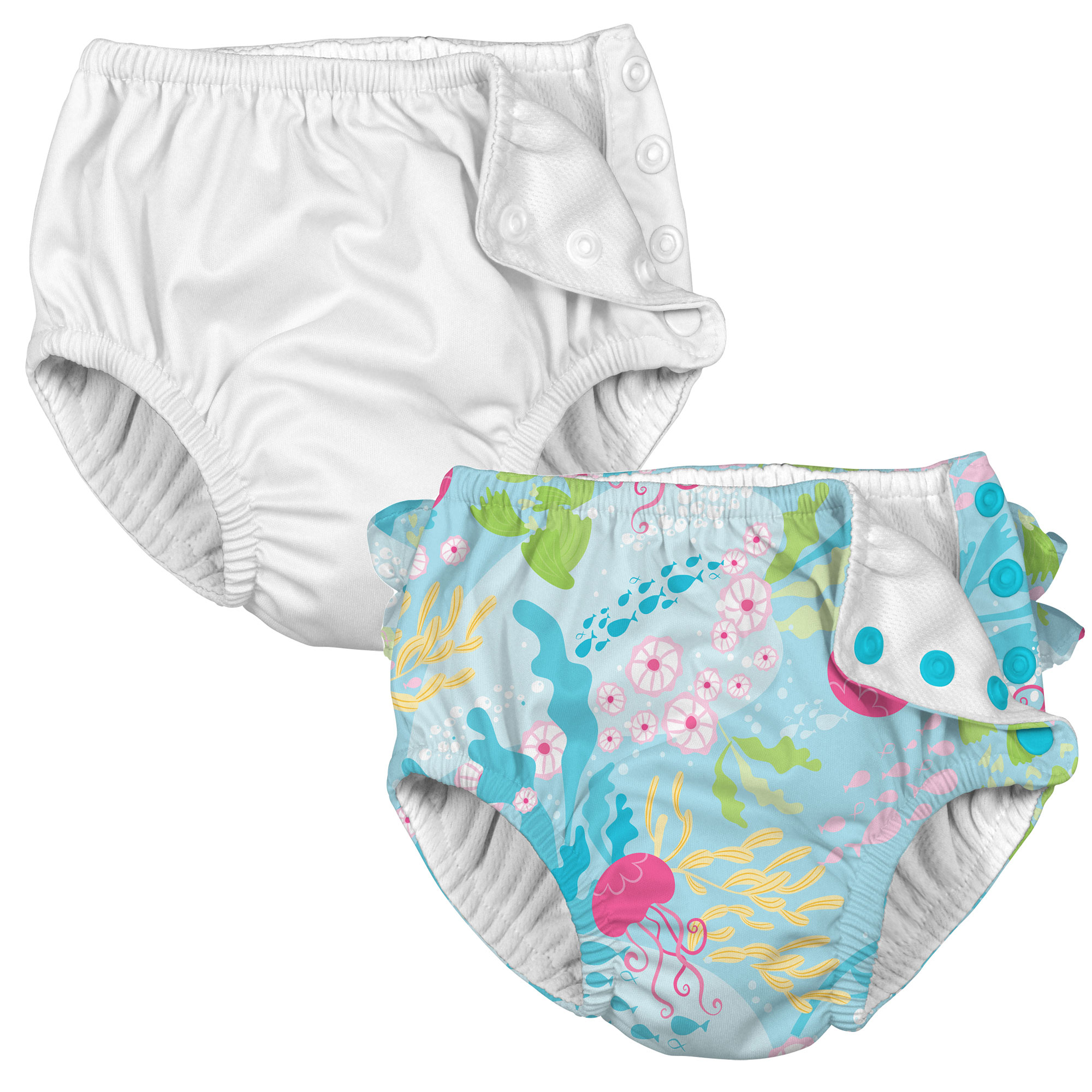 i play Baby and Toddler Snap Reusable Swim Diaper - White and Coral Reef - 2 Pack