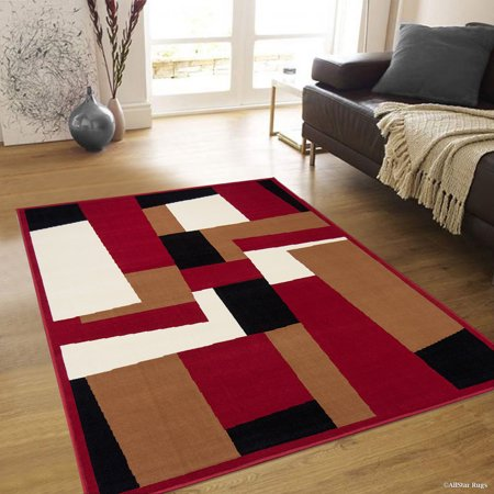 Allstar Red Area Rug Contemporary Abstract Traditional Formal Shapes Spirals