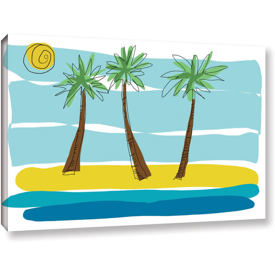 "ArtWall Jan Weiss ""Beach Day Palms I"" Gallery-wrapped Canvas Art"