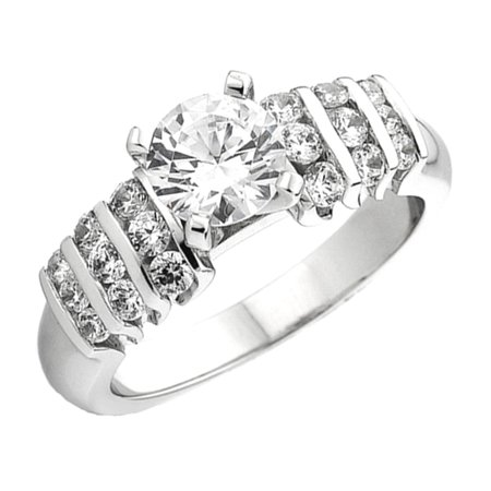 Dazzlingrock Collection 0.50 Carat (Ctw) 14k Round Diamond Ladies Semi Mount Bridal Ring Engagement 1/2 Ct (No Center Stone), White Gold, Size 7