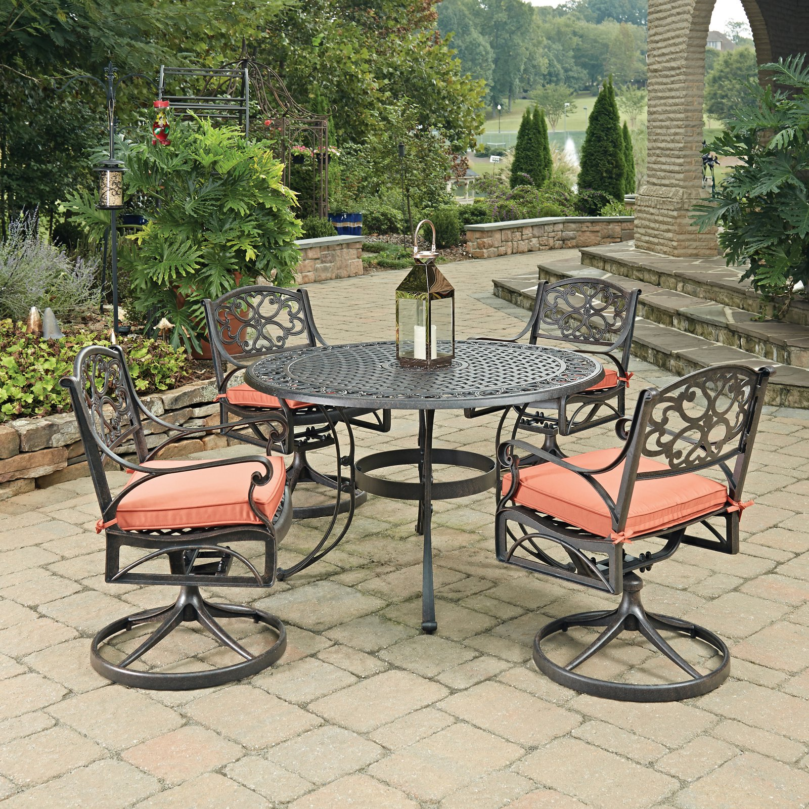 Biscayne Rust Bronze Round 5 Pc Outdoor Dining Table & 4 Swivel Rocking Chairs with Cushions