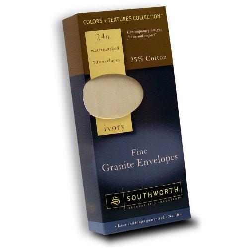 Southworth 25% Cotton Granite Envelopes - Stationery - #10 - 24 Lb - 50/pack - Ivory (P93410L318)