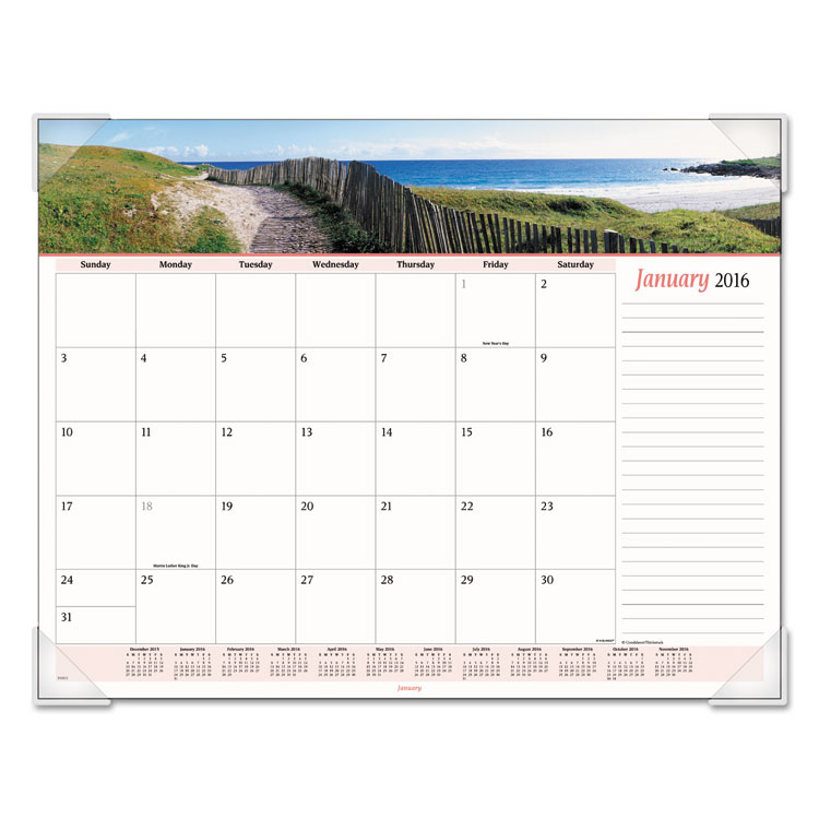 At-A-Glance Seascape Panoramic Desk Pad 22 x 17 2017 89803