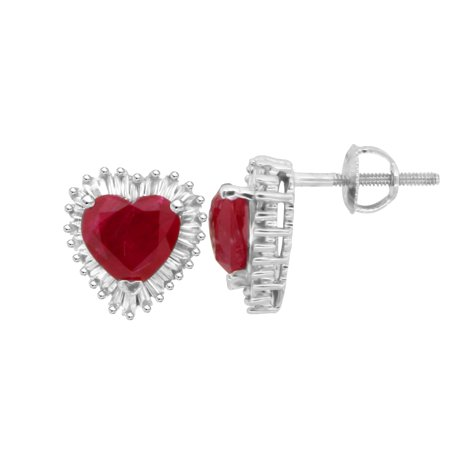 2.36 ct.t.w.Genuine Ruby and Baguette Diamond Heart Earrings 14Kt White Gold