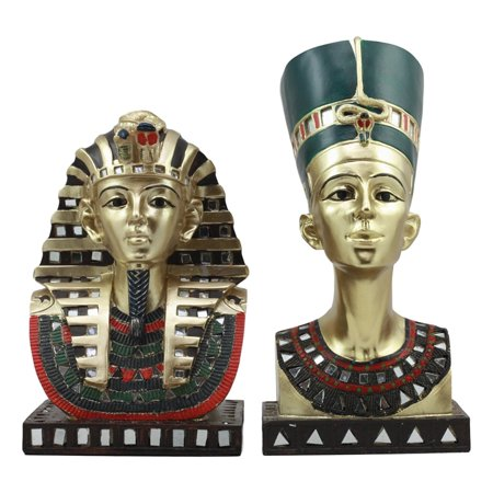 Ebros Golden Mask Of Egyptian Pharaoh King Tut And Queen Nefertiti Statue Set Of 2 Classical Ancient Egypt Royal Busts Decorative Figurines](Egyptian Pharo)