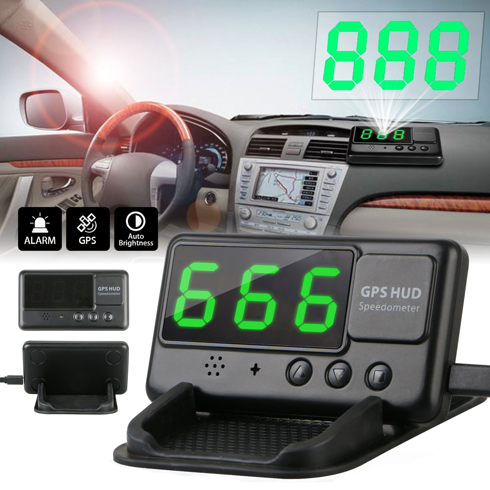 Universal Digital Car GPS Speedometer HUD Head Up Display MPH/KM Overspeed Alarm