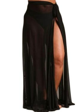 f7e153083d Product Image Women Sexy Beach Sarong Sheer Chiffon Side Tie Split Bikini Cover  Up Maxi Long Skirt Swimsuit