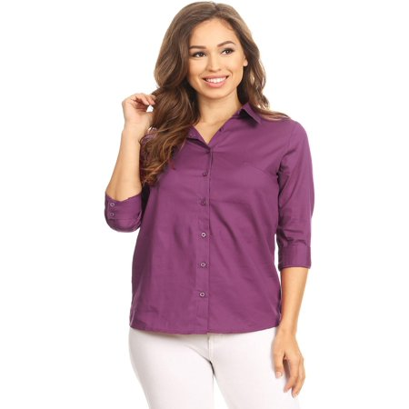 MOA COLLECTION Women's Solid Casual Slim 3/4 Sleeve Button Up Front Stretch Poplin Blouse T-Shirt