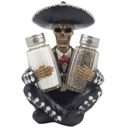 Day of the Dead Mariachi Skeleton Salt and Pepper Shaker Set for Spooky Mexican Dia de Los Muertos & Halloween Party Decorations by Home 'n Gifts