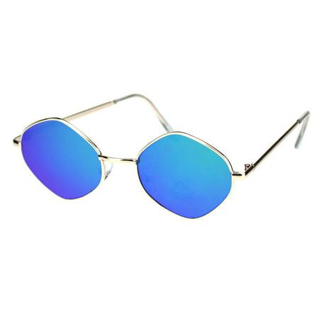Light Blue Gold Rim (Retro Hippie Diamond Reflective Color Mirror Lens Metal Rim Sunglasses Gold Green Mirror )