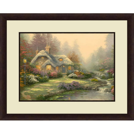 Thomas Kinkade Moonlight Cottage - Thomas Kinkade,Everett's Cottage, 20x16 Decorative Wall Art