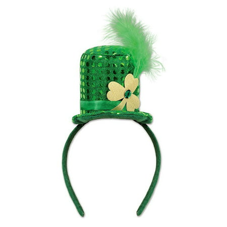 Green Sequin St. Patrick's Day Mini Shamrock Top Hat Headband