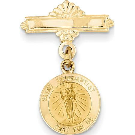 Leslies Fine Jewelry Designer 14K Yellow Gold Saint John the Baptist Medal Pin (27x17mm) Pendant (Baptist Medal Pin)
