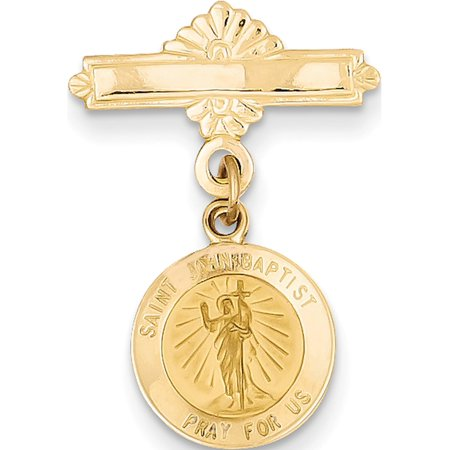 Leslies Fine Jewelry Designer 14K Yellow Gold Saint John the Baptist Medal Pin (27x17mm) Pendant (Baptist Medal Pin)