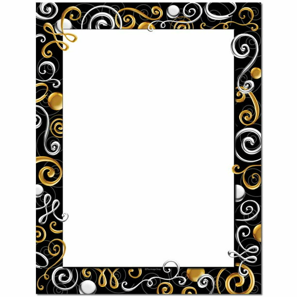 Gold &  Silver Swirls Letterhead Laser & Inkjet Printer Paper, 100 Sheets