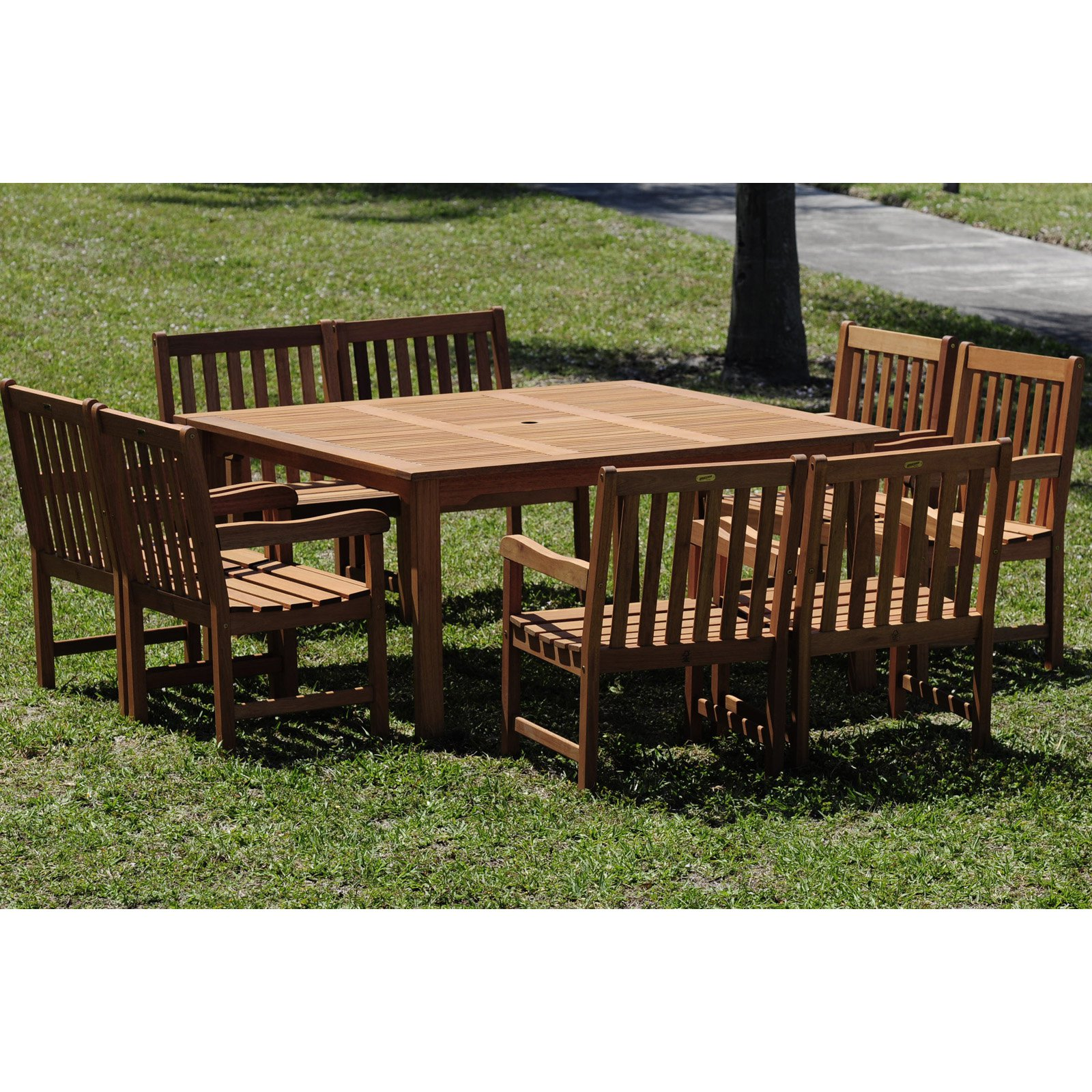 Milano Eucalyptus Square Deluxe 9-Piece Patio Dining Set