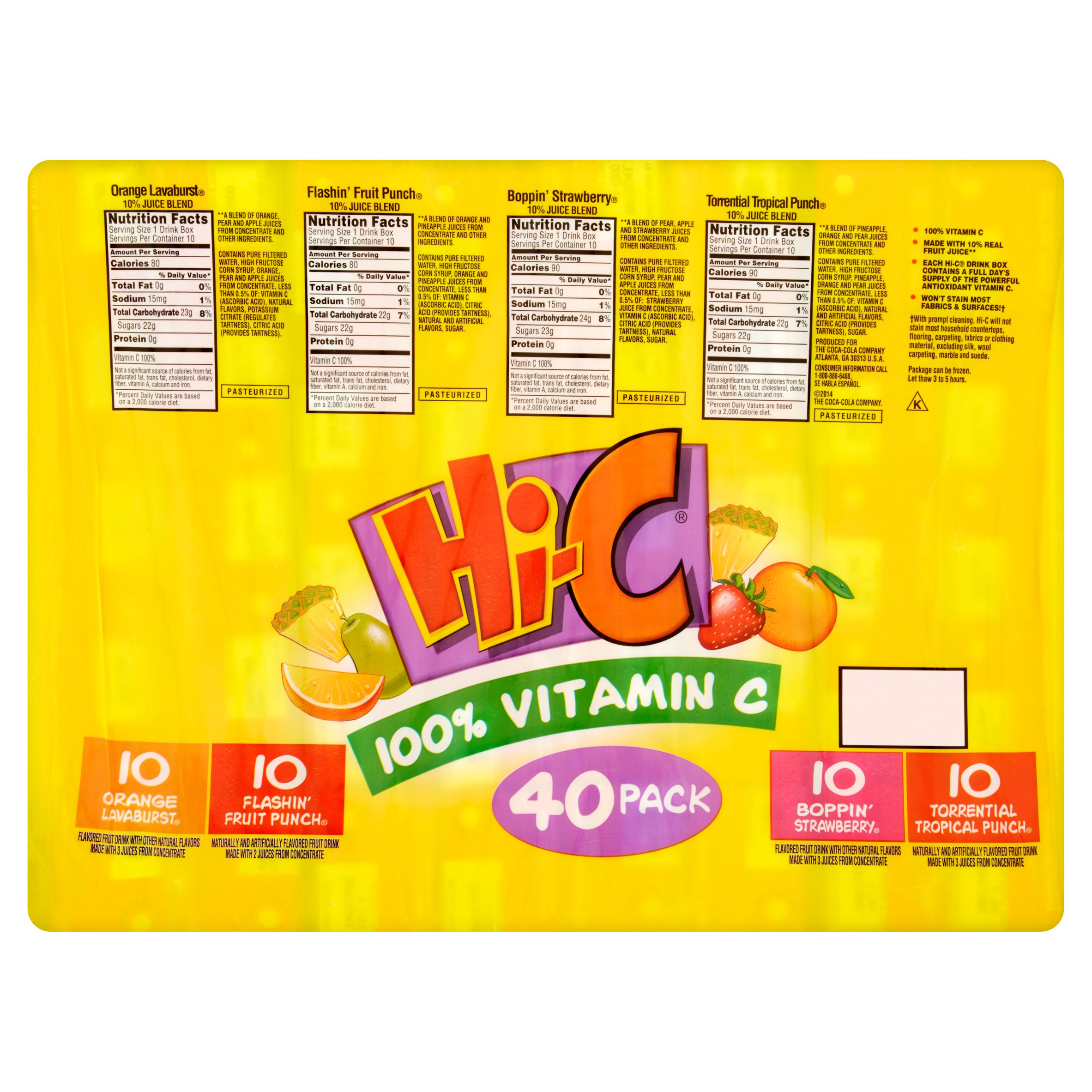 Hi-C Fruit Drink, Variety Pack, 6 Fl Oz, 40 Count