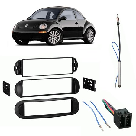 fits volkswagen beetle 98-11 single din stereo harness radio install dash  kit - walmart com