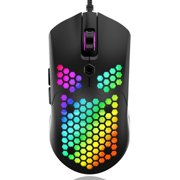 RGB Lightweight Gaming Mouse Optical Sensor with Lightweight Honeycomb Shell Ultralight Ultraweave Cable BLACK