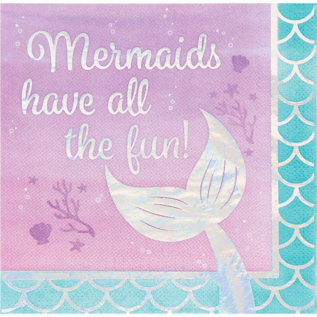 Creative Converting Iridescent Mermaid All The Fun Napkins, 16 ct
