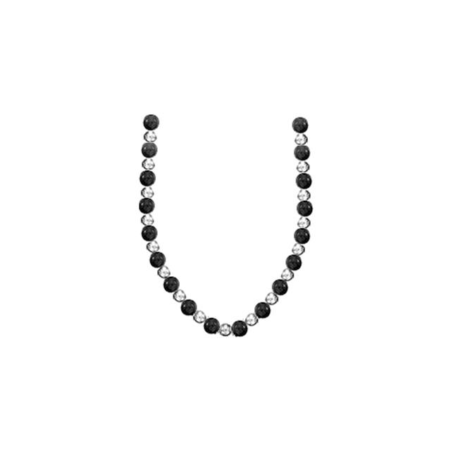 Fine Jewelry Vault UBNKBK7140AGBOX 9 MM Black Onyx with 7 MM Beads Necklace Set on 925 Sterling Silver Chain 18 in.... by