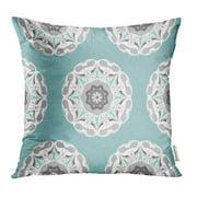 EREHome Gray Mint Mandalas Endless Pattern Fills Green Arabic Asian Azure Bohemian Pillowcase Cushion Cases 20x20 inch