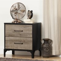 South Shore Valet 2-Drawer Nightstand, Weathered Oak and Ebony