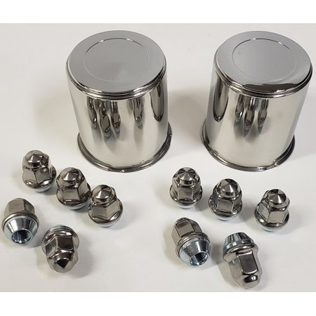 Trailer Wheel Center Caps - 2 Trailer Wheel Lug and Cap Sets - Stainless Hub Cover 5 SS Lugs 3.28in. Center
