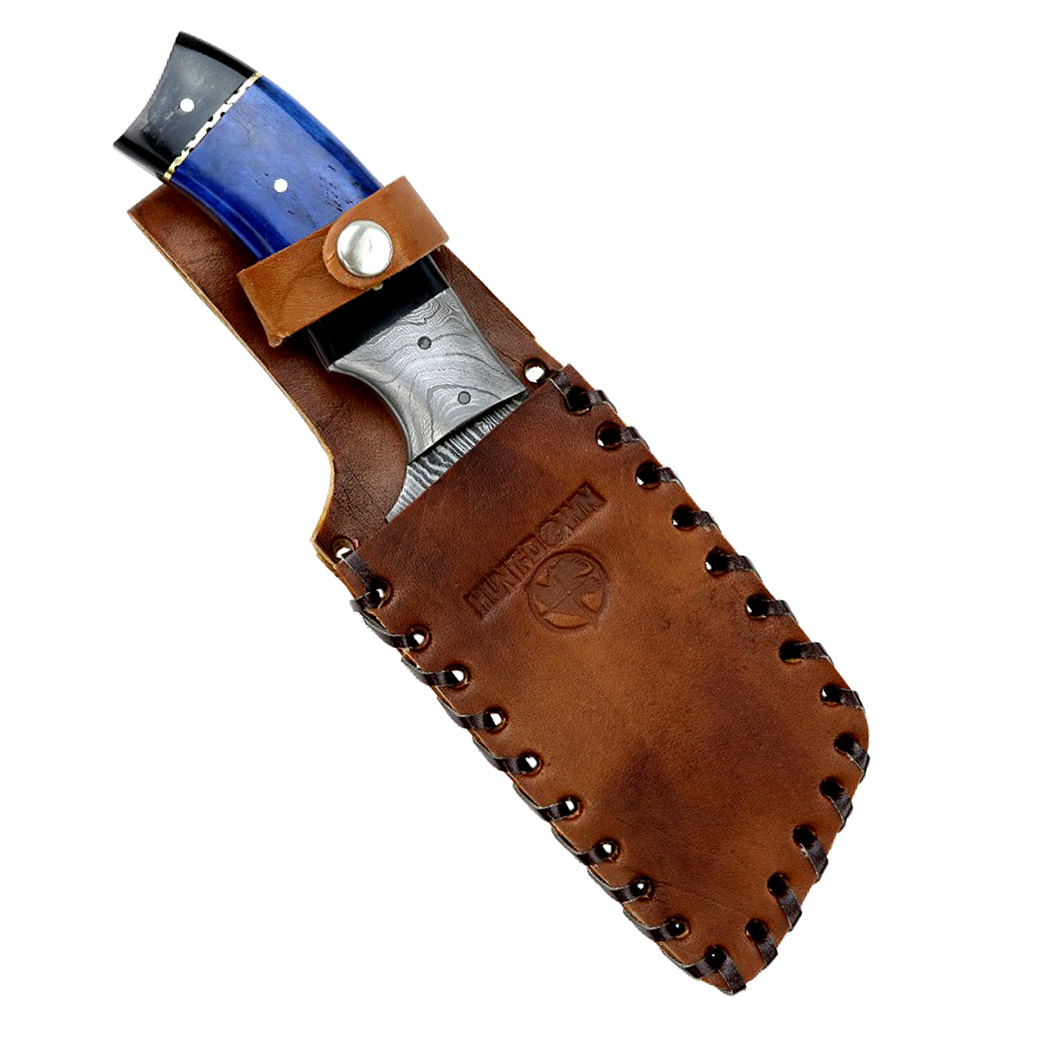 "Hunt-Down 9"" Damascus Blade Hunting Knife Horn Handle With Leather Sheath by Hunt-Down"