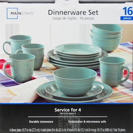 & Mainstays Aqua 16-Piece Dinnerware Set - Walmart.com