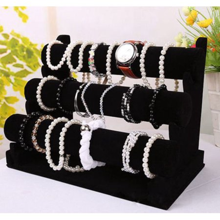 New 3 Tier Velvet Watch Bracelet Jewellery Display Organizer Stand Holder Lot Fy