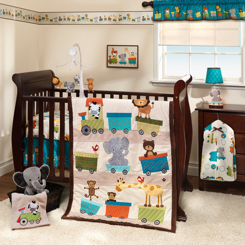 Lambs & Ivy Bedtime Originals - Animal Choo Choo Express 3pc Crib Bedding Set Collection Bundle