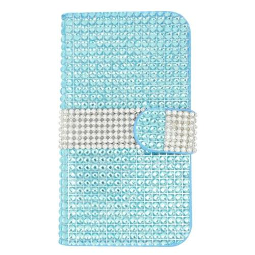 Insten Flip Leather Wallet Diamond Case with Card slot For Samsung Galaxy S7 - Light Blue/Silver