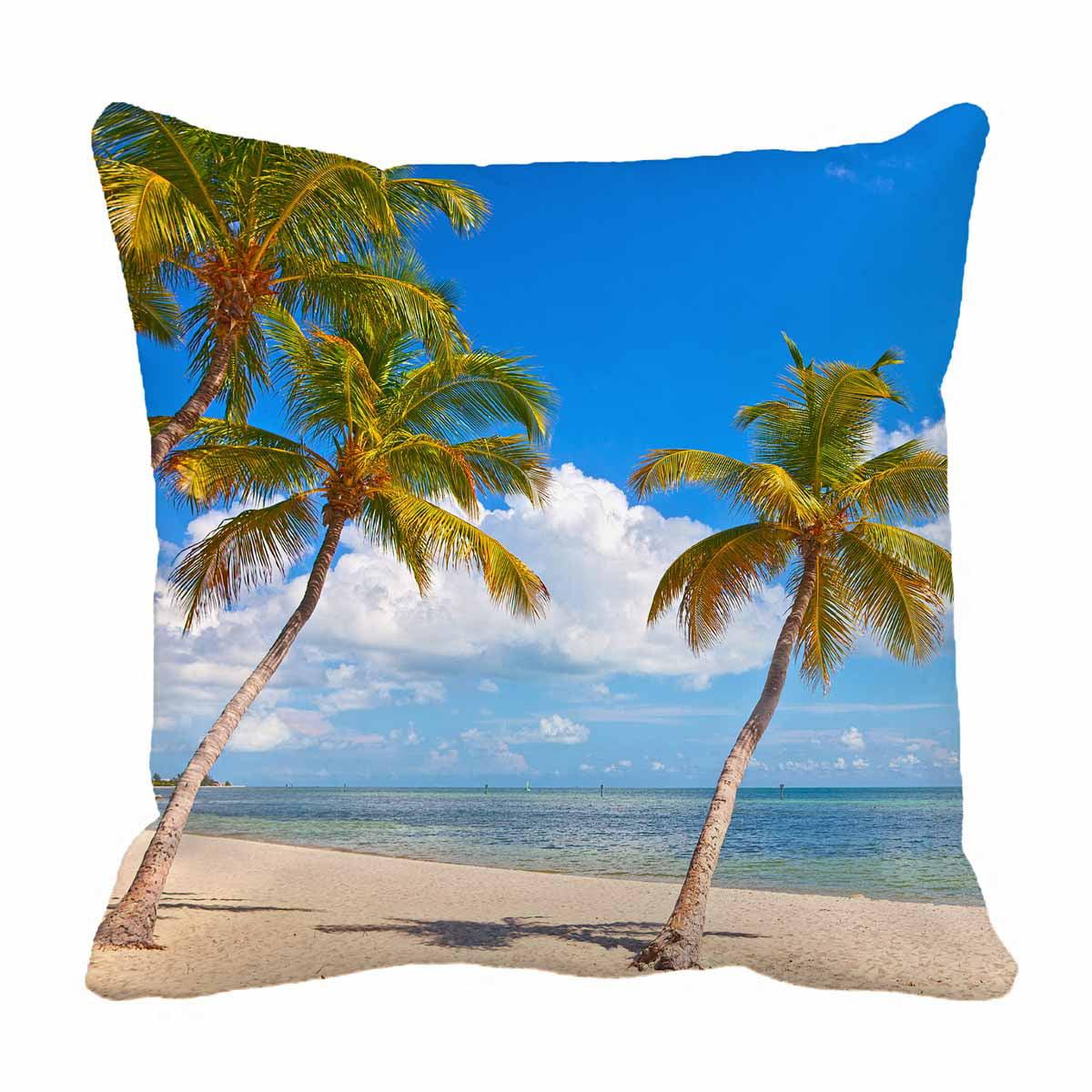 Pkqwtm Palm Trees Beach Key West Blue Sky Ocean Water Florida Bed Decor Pillow Cases Zippered Cushion Cover Size 16x16 Inches Walmart Com Walmart Com