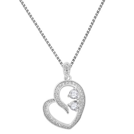 2 Solitaire Stone Cz Heart Pendant Free 18  Necklace Sterling Silver Forever Us Charm 1 0