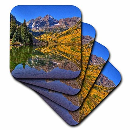 3dRose Maroon Bells Peaks in the Elk Mountains Reflected on Aspen Lake, Ceramic Tile Coasters, set of 4