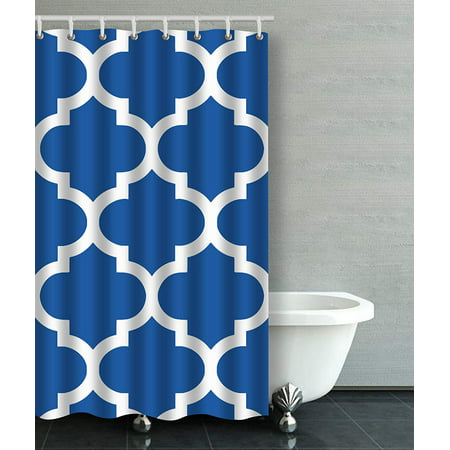 BPBOP Moroccan Quatrefoil In Cobalt Blue Bathroom Shower Curtain 48x72 inches ()