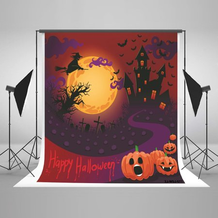 GreenDecor Polyster Halloween Red Backdrops Pumpkin Bat Witch Haunted House Graveyard Bloody Backgrounds for Halloween Party Photo Photography Studio 5x7ft](Halloween Pumpkin Background)