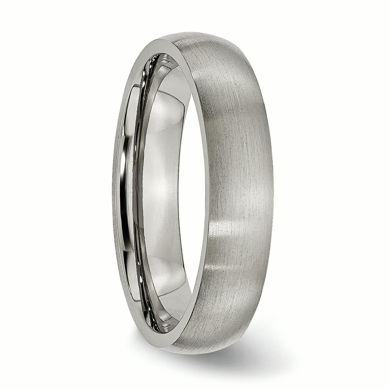 Titanium 5mm Brushed Wedding Ring Band Size 7.00 Classic Domed Fashion Jewelry Gifts For Women For Her - image 4 de 7
